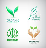 Vector set of green leaf logos, eco, organic product icons. Nature protection, healthy lifestyle concept Stock Image