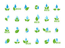 Vector set of green leaves and blue water drops Royalty Free Stock Image