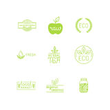 Vector set of green and organic products labels and badges. Collection of different icons and illustrations related to fresh and healthy food - part 5 Royalty Free Stock Image