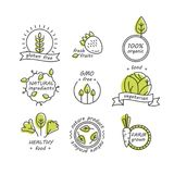Vector set of green and organic products labels and badges Royalty Free Stock Photos