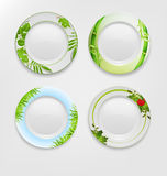 VECTOR set with green patterns on plates. Stock Photos