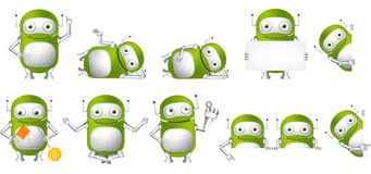Vector set of green robots illustrations. Stock Image