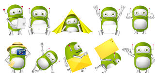 Vector set of green robots illustrations. Royalty Free Stock Photography