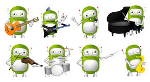 Vector set of green robots music illustrations. Stock Photos