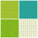 Vector set of green seamless patterns Stock Image