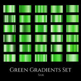 Vector set of green silk gradients. Collection of design gradation swatches Royalty Free Stock Photos