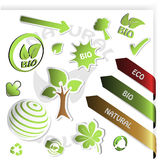 vector set of green stickers Royalty Free Stock Photos