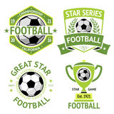 Vector set of green vintage Football labels. With laurel wreath, goblet, ball, shield and ribbons. Royalty Free Stock Photography