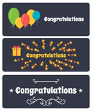 Vector set of greeting banners. Congratulate. Royalty Free Stock Photos