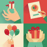 Vector set of greeting card in flat  style Royalty Free Stock Photo