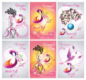 Vector set of greeting card, flyer and banner template the Women day. 8 march stock illustration