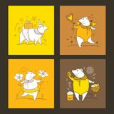 Vector set of greeting card with outline cute pig in orange, white and yellow. Contour symbol of Chinese New Year 2019. vector illustration