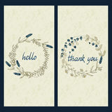 Vector set with greeting cards with hand drawn words hello and thank you in a circle flower frame Stock Images