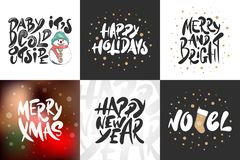 Sketch set Christmas, Noel and New Year holiday. Detailed vintage etching drawing royalty free illustration