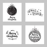 Vector set of greeting Christmas cards. Vector black and white set of sketch greeting Christmas cards Royalty Free Stock Photography