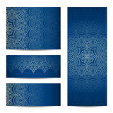 Vector set greeting or invitation cards. Vector set with vintage lace floral pattern for greeting or invitation card Royalty Free Stock Images