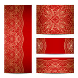 Vector set greeting or invitation cards. Vector set with vintage lace floral pattern for greeting or invitation card Stock Photography
