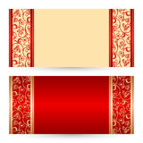 Vector set greeting or invitation cards. Royalty Free Stock Photos