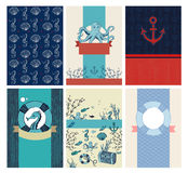 Vector set of greeting marine cards royalty free illustration