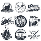 Vector set of grill and bbq labels in vintage style.. Design elements, icons, logo, emblems and badges  on white background. Fish, steak and burgers barbecue Stock Image