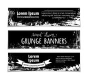 Vector set of grunge blackboard horizontal banners. Chalk hand-drawn stains, flourishes and blots on blackboard banners. There is place for your text stock illustration
