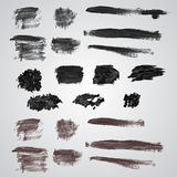 Vector set of grunge  broad brush strokes. Royalty Free Stock Images