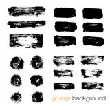 Vector set of grunge brush strokes collection Stock Image