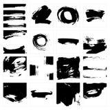 Vector set of grunge brush strokes in squares on white background. stock illustration