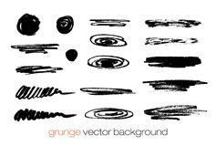 Vector set of grunge brush strokes. Vector brush Stock Image
