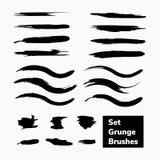 Vector set grunge brushes. Vector black set of grunge brushes ink Stock Photos