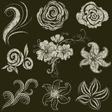 Vector set of grunge leafs and flowers Royalty Free Stock Image