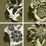 Vector set of grunge vintage girls hair Royalty Free Stock Photography