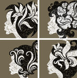 Vector set of grunge vintage girls hair Stock Photo