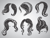Vector set of grunge vintage hair styling Royalty Free Stock Images