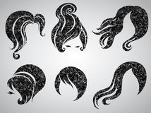 Vector set of grunge vintage hair styling Royalty Free Stock Image