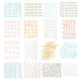 Vector set of grungy hand drawn textures on white background. Lines, circles, crosses, smears, strokes. Elements and Royalty Free Stock Photos