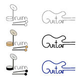 Vector set of guitar and drum logos Stock Photography