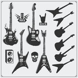 Vector set of guitars. Black and white design. Royalty Free Stock Photography