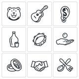 Vector Set of Gypsy Camp Icons. Bear, Guitar, Eear Ring, Alcohol, Tambourine, Beggar, Wedding, Agreement, Silverware. Royalty Free Stock Image