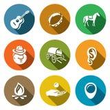 Vector Set of Gypsy Camp Icons. Guitar, Tambourine, Horse, Romany, Dray, Ring Ear, Bonfire, Beggar, Nomad. Stock Image