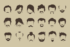 Vector set. hair, mustache, beard stock illustration
