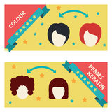 Vector Set  Hair Salon Labels and Icons Stock Image