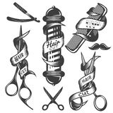 Vector set of hair salon vector labels in vintage style. Hair cut beauty and barber shop, scissors, blade. Design elements, icons, badges on white background royalty free illustration