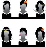 Vector set of hair style. Ornate samples for woman Stock Photos