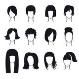 Vector set of hair styling icons. For your design Royalty Free Stock Image