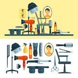 Vector set of hairdresser objects and tools isolated on white background.  Royalty Free Stock Photo