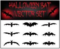 Vector set of Halloween bat silhouette. Illustration  on white background Royalty Free Stock Photo