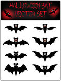 Vector set of Halloween bat silhouette. Illustration  on white background Stock Image