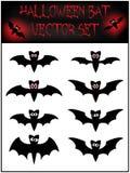 Vector set of Halloween bat silhouette. Illustration  on white background Stock Image
