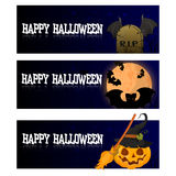 Vector set of Halloween bookmarks with broom, witch boiler, pumpkin. Vector set of Halloween bookmarks . Bright festive background Stock Photography